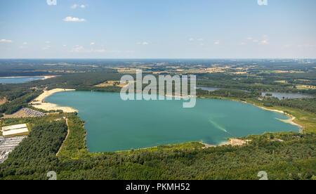 Vue aérienne, le plus populaire lido de la Ruhr est situé à l'II dans le lac Silbersee Haltern am See, Lido, l'eau turquoise Banque D'Images