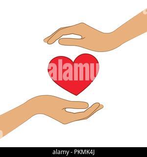 Coeur rouge entre les mains deux EPS10 vector illustration Banque D'Images