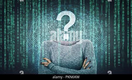 Image surréaliste comme une femme anonyme en ligne pirate internet face invisible avec stand avec mains croisées et point d'interrogation au lieu de tête, cachant l'identité Banque D'Images