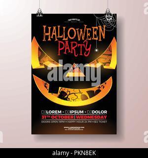 Halloween Party flyer illustration vectorielle avec effrayant visage sur fond noir. Maison de vacances avec modèle de conception de cimetière pour partie invitation, carte de souhaits, une bannière ou une célébration de l'affiche. Banque D'Images