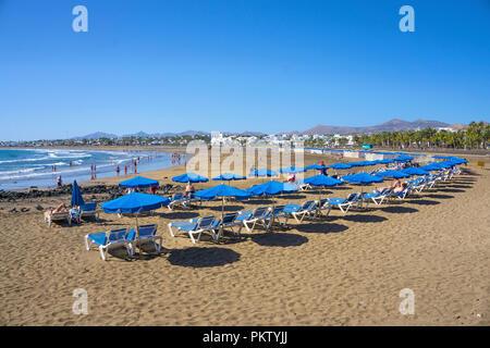 Playa Matagorda, grande plage de Puerto del Carmen, Lanzarote, îles Canaries, Espagne