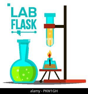 Flacon de laboratoire vecteur. Matériel de laboratoire chimique. Flacon en verre avec lampe à alcool. Symbole de la science. La verrerie. Laboratoire de recherche d'icônes. Illustration isolé Banque D'Images