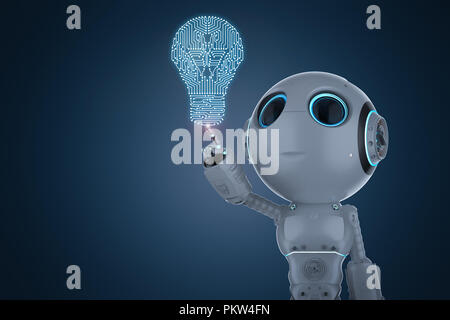 Le rendu 3D mini robot collés au point Light bulb Banque D'Images
