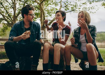 Amis touristes en vacances de manger des collations grillées assis à l'extérieur dans la campagne. Homme avec deux amies camping à la campagne manger Banque D'Images