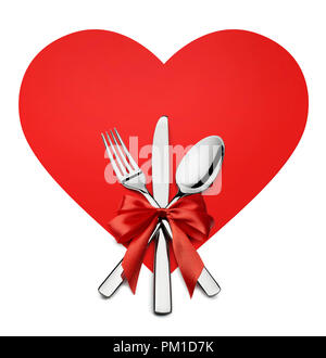 Valentine fourchette, couteau, cuillère en forme de coeur rouge élément design isolé sur fond blanc pour le traiteur, menu, e-mail, bannières, restaurant partie celebr Banque D'Images
