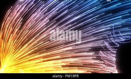 Les particules de fluide avec des sentiers lumineux de l'essaim. 3d illustration.