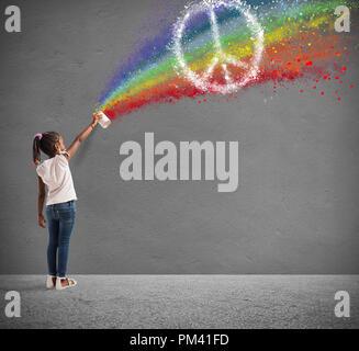 Attire l'enfant avec la couleur de la paix Banque D'Images