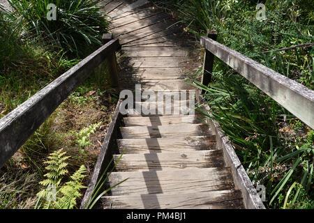 En descendant un escalier en bois à l'extérieur Banque D'Images