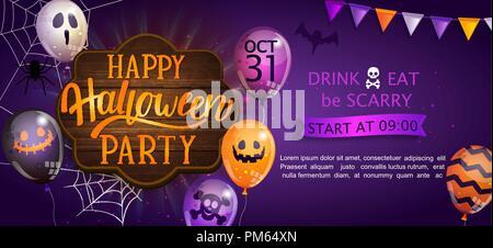 Bannière de bienvenue pour Happy Halloween party avec lettrage sur planche de bois et monster ballons. Invitation et carte de souhaits avec spider et bat pour le web, affiches, flyers, affiches. Vector illustration. Banque D'Images