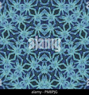 La technique de collage numérique oriental de luxe transparente ornée de couleurs bleu pattern design
