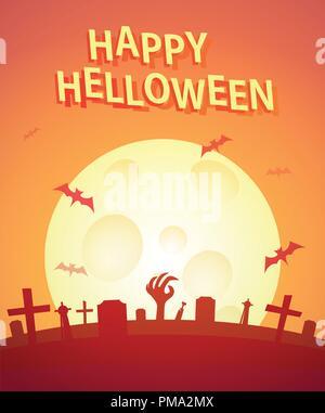 Happy Helloween Poster. Invitation vecteur affiche avec copie espace pour la signature de l'heure et du lieu de la partie ou de l'événement. Banque D'Images