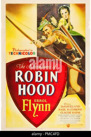Errol Flynn, Olivia de Havilland, les aventures de Robin des Bois (Warner Brothers, 1938). Référence de fichier affiche # 33595_732THA Banque D'Images
