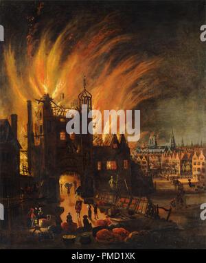 Le grand incendie de Londres, avec Ludgate et Old St. Paul's. Date/Période: Ca. 1670. La peinture. Huile sur toile. Hauteur: 1 346 mm (52.99 in); largeur: 1 108 mm (43,62 po). Auteur: anonyme. Banque D'Images