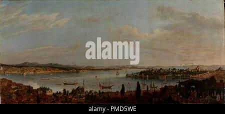Panorama d'Istanbul. Date/Période: fin du 18e siècle. La peinture. Huile sur toile. Hauteur: 1 000 mm (39,37 po); largeur: 2 130 mm (83.85 in). Auteur: ANTOINE DE FAVRAY. Favray, Antoine de. Banque D'Images