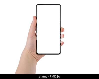 ... moins Smartphone avec écran vide. Main de femme jeune cadre holding  Smartphone sans écran blanc isolé sur fond blanc Banque D e68bffc87fd2