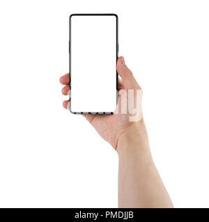 Prêt pour la maquette d applications mobiles. Jeune homme tenant la main-lunette  smartphone moins écran blanc isolé sur fond blanc Banque 4da15875095c