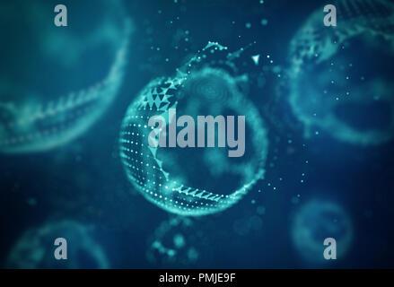 Abstract 3d allumé bleu Sphère Mesh déformé . En Néon . Technologie futuriste Élément HUD . Résumé élégant détruit Sphere . Big Data Visualisation . Banque D'Images