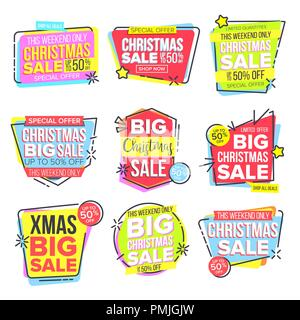 Grande vente de Noël Sticker Set vecteur. Modèle pour la publicité. Tag d'escompte, Offre Spéciale d'ouverture. Jusqu'à 50 % sur des Badges. L'icône de promo. Acheter Étiquette. Illustration isolé Banque D'Images