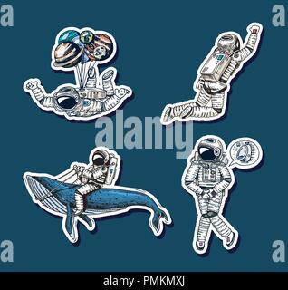 Ensemble d'astronautes dans l'espace d'autocollants. Collection planeur spaceman whale et de ballons. Musicien danseur aventure dans la galaxie. Voyageur Sans abri dessinés à la main, gravée humoristique. Banque D'Images