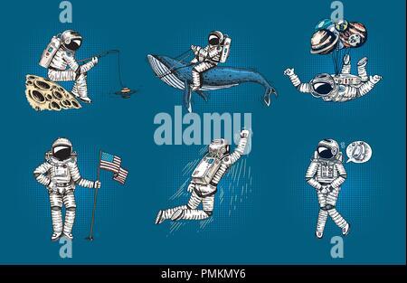 Ensemble d'astronautes dans l'espace Collection pop art planeur spaceman avec drapeau, de baleine et de ballons. Musicien danseur aventure dans la galaxie. Voyageur Sans abri dessinés à la main, gravée humoristique. Banque D'Images