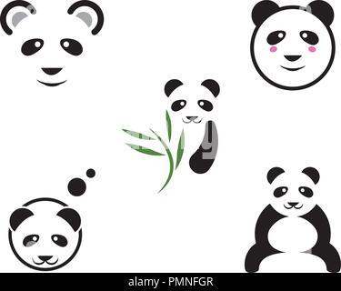 Logo Panda icône vecteur modèle modèle illustration Banque D'Images