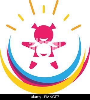 L'adoption et de soins communautaires modèle Logo Icône vecteur Banque D'Images