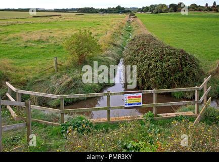Un fossé de drainage des terres la réunion côte de Norfolk pour rejet dans le Creek à Morston, Norfolk, Angleterre, Royaume-Uni, Europe. Banque D'Images