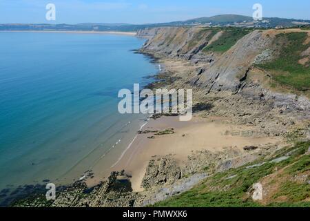 Shire Comb Beach à l'extrémité orientale de Pobbles Beach Southgate Gower Swansea Pays de Galles Cymru UK