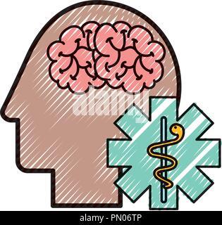Tête humaine de profil caducée mentale du cerveau Banque D'Images
