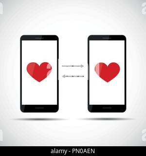 La datation en ligne app concept cœurs vector illustration EPS10