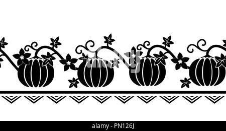 Frontière perméable avec ornement de citrouille. Silhouettes de citrouille en noir et blanc. Bande d'automne. Vector illustration. Fow Conception d'écran, Thanksg Banque D'Images