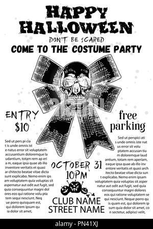 Le style dessiné à la main avec la conception de l'affiche de l'Halloween Halloween skulls et calligraphie. Noir blanc circulaire et invitation à une fête. Vecteur. Banque D'Images