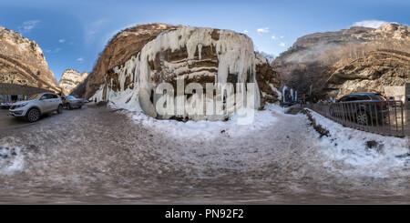 Cascades de glace de Chegem Banque D'Images