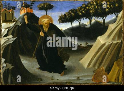 Saint Antoine Abbé fuyant la masse d'or. Date/Période: Ca. 1435-1440. La peinture. Tempera et feuille d'or sur panneau. Hauteur: 19,7 cm (7,7 po); Largeur: 28,1 cm (11 in). Auteur: Fra Angelico. Banque D'Images