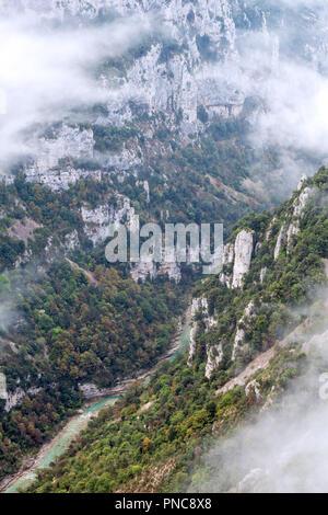 Gorges du Verdon / Gorges du Verdon canyon, un ravin rempli de brume matinale Bouches-du-Rhône, Provence-Alpes-Côte d'Azur, France Banque D'Images
