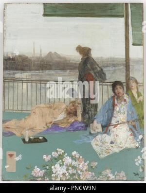 Les variations de couleur chair et vert--le balcon. Date/Période: De 1864 jusqu'en 1879. La peinture. Huile sur panneau de bois. Hauteur: 61,4 cm (24.1 in); Largeur: 48,8 cm (19.2 in). Auteur: WHISTLER, JAMES ABBOTT MCNEILL. JAMES MACNEILL WHISTLER.