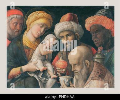 Adoration des Mages. Date/Période: Ca. 1495 - 1505. La peinture. Maladie de Carré sur le linge. Hauteur: 486 mm (19.13 in); Largeur: 656 mm (25,82 po). Auteur: MANTEGNA, Andrea. Banque D'Images
