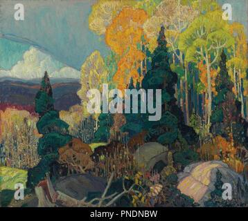 Colline de l'automne. Date/période: 1920. La peinture. Huile sur toile. Largeur: 91,4 cm. Hauteur: 76 cm (l'ensemble). Auteur: Franklin CARMICHAEL.