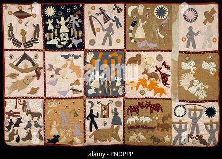 Pictorial quilt. Date/période: 1895 - 1898. Les textiles. Le coton à armure toile, losanges, appliqued, brodés, et piqué. Hauteur: 1 750 mm (68,89 po); largeur: 2 667 mm (105 in). Auteur: Harriet Pouvoirs. Banque D'Images