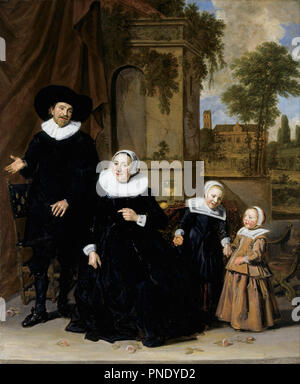 Portrait d'une famille néerlandaise. Date/Période: De 1633 jusqu'à 1636. La peinture. Huile sur toile. Hauteur: 111,8 cm (44 in); Largeur: 89,9 cm (35,3 in). Auteur: Frans Hals. Banque D'Images