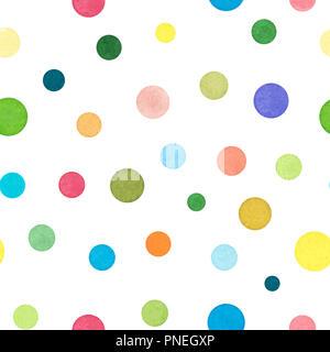 Ensemble de divers points colorés, peints à l'Aquarelle et isolé sur fond blanc, motif transparent