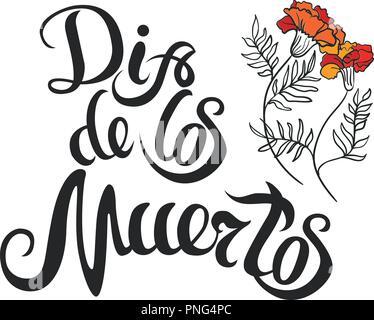 Dia de muertos dessin lettrage et marigold pour jour de la mort Banque D'Images
