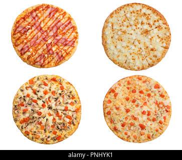 L'ensemble de meilleures pizzas italiennes isolé sur fond blanc Banque D'Images