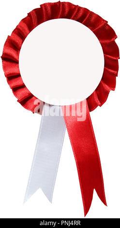Badge de rubans rouge et blanc isolé sur fond blanc Banque D'Images