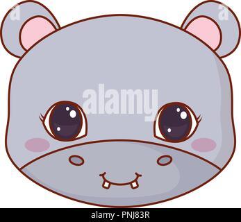 Bébé éléphant Symbole marche  Visage mignon hippo cartoon animal vector  illustration Banque D Images 037f0ecbbeb
