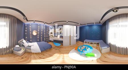 Sphérique de rendu 3d 360 degrés, une panorama de la chambre des enfants en couleur bleu nuit. Visualisation de la notion de l'intérieur design kids Banque D'Images