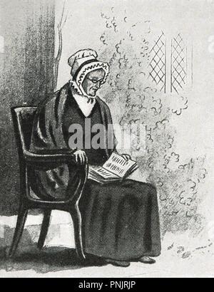 Un dessin de la princesse Victoria, plus tard, la reine Victoria, d'une vieille dame assise, lisant un livre, dessiné par elle à l'âge de 12 ans, vers 1831 Banque D'Images