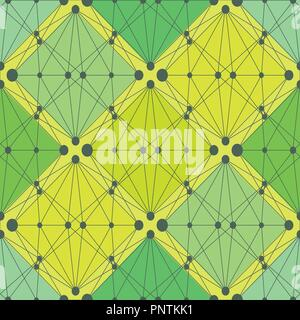 Résumé motif transparent vert plantes ornementales ligne géométrique colorée. Edition de Noël. Banque D'Images