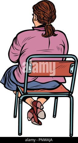 Retour Femme Assise Sur Une Chaise Pop Art Retro Kitsch Vintage Illustration Vectorielle Banque D