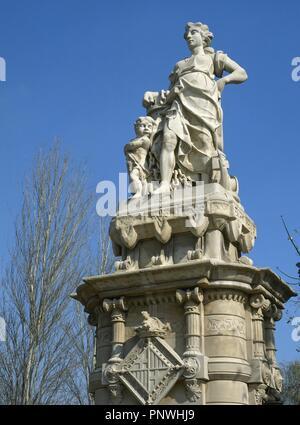 L'Espagne. Barcelone. Entrace statue de Parc de la Ciutadella. Le milieu marin, 1886. L'Art Nouveau catalan. Banque D'Images